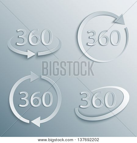360 degrees rotation vector icon set in 3d, paper and origami style with shade. Geometry math symbol. Full rotation.