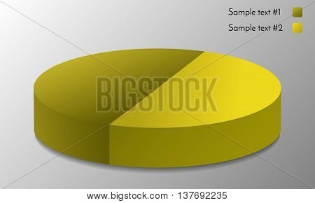 Pie graphic chart vector.Illustration of round glossy business graph. Abstract market graph for your presentation.