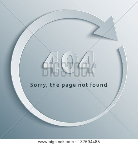 404 page not found template with reboot round arrow in 3d, paper and origami style.