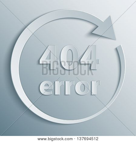 404 Error template with reboot round arrow in 3d, paper and origami style. The page not found background.