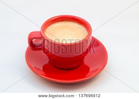 Red Coffee Cup And Saucer With Coffee