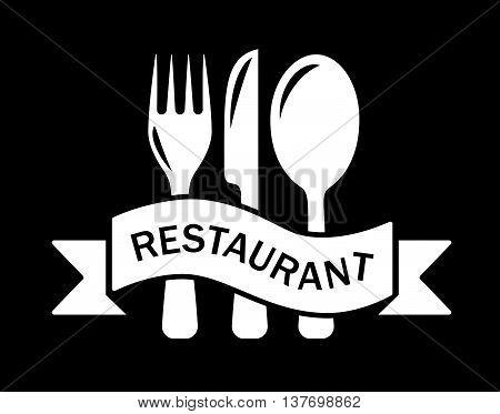 art style restaurant symbol with kitchen ware