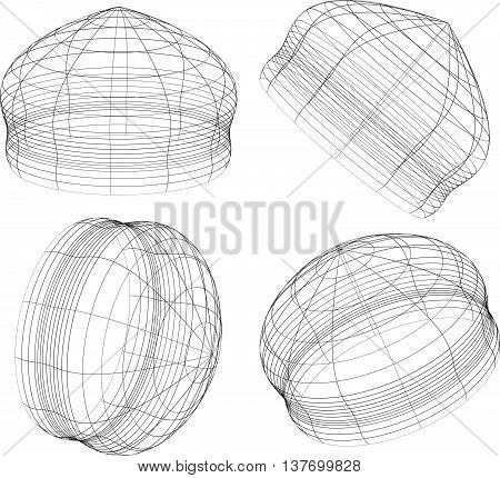 Abstract 3D Wireframe Objects. 3D, Spatial Shapes Set At 4 Angles. Geometric Elements.