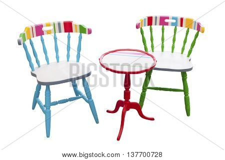 Colorful furniture chairs and table stock picture