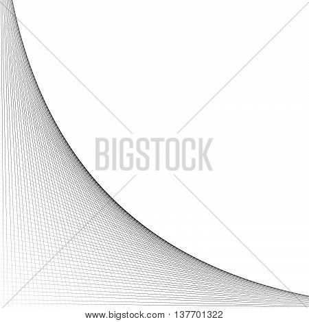 Grid mesh of intersecting lines with curve arc spreading from the corner. Reticulate pattern with asymmetry. Abstract monochrome illustration. poster