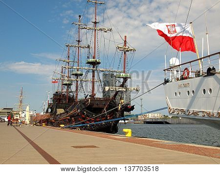 Gdynia, Poland - June 04, 2016 Pirate Galleon tourist moored at the wharf at Kosciuszko Square in Gdynia.