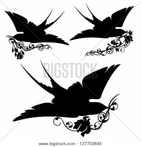 swallow with rose - black birds holding flowers vector silhouette set