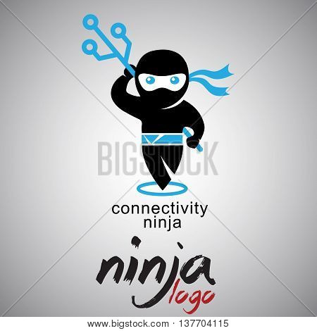 connectivity ninja logo concept designed in a simple way so it can be use for multiple proposes like logo ,marks ,symbols or icons.