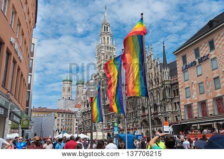 MUNICH, GERMANY - JULY 9, 2016: Marienplatz on Christopher Street Day with rainbow flags