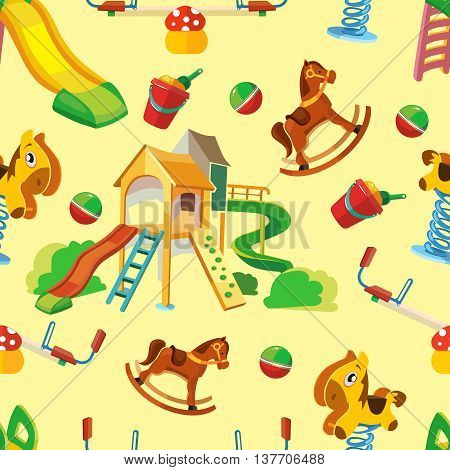 vector seamless pattern of children playground. Background Illustration in flat style.Childhood parenting collection.