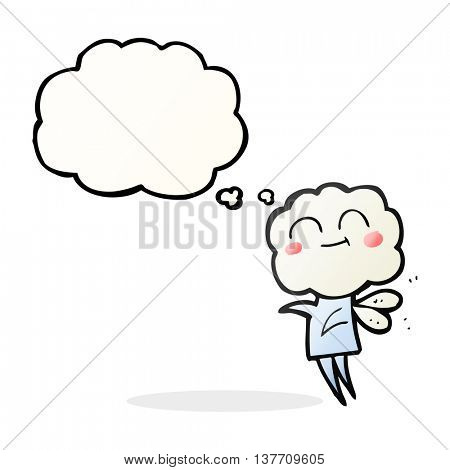 freehand drawn thought bubble cartoon cute cloud head imp
