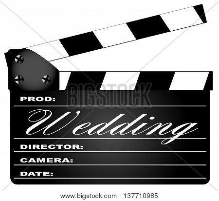 A typical movie clapperboard with the legend WEDDING isolated on white.