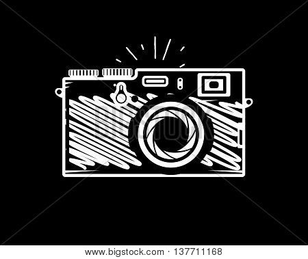 Vintage photo camera doodle style, vector illustration for your cool design, eps10