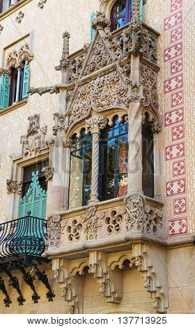 Balcony In Casa Amatller In Eixample District Of Barcelona