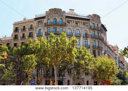 Decor Of Building On Passeig De Gracia 33 In Barcelona