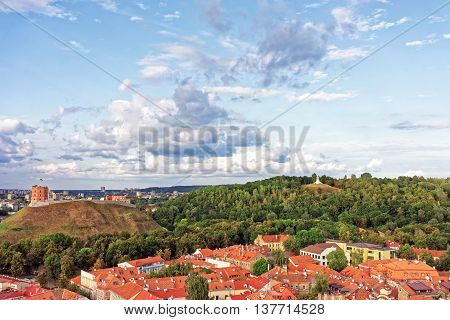 Upper Castle And Hill Of Three Crosses In Vilnius