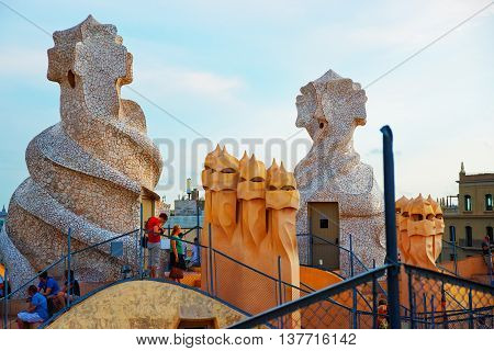 Tourists On Roof And Chimneys At Casa Mila Building