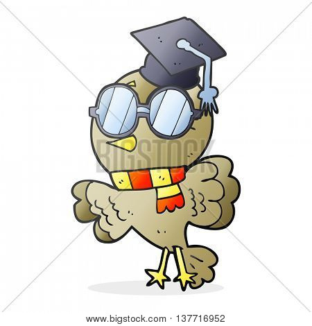 cute freehand drawn cartoon well educated bird