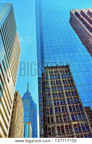 Bottom Up View To Skyscrapers Reflected In Glass In Philadelphia