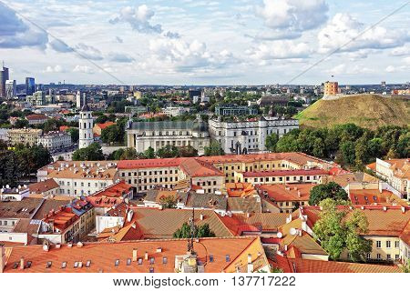 Upper Castle And Cathedral Square In Vilnius