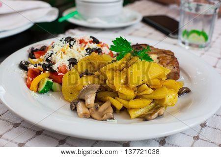 Salad With Smoked Eel With Unagi Sauce. Food