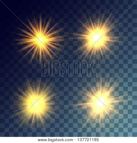 Simple vector yellow and bright suns on transparent background. Release clipping mask for work.