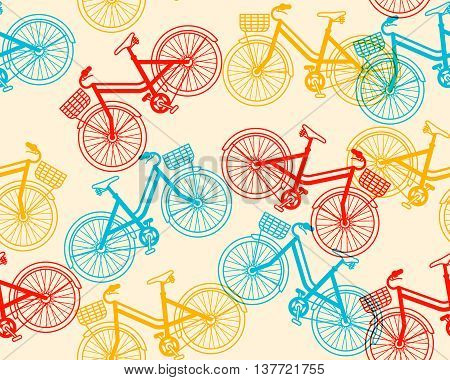 Vector summer time illustration seamless pattern of retro red and blue color bicycle with basket on yellow background. Thin line art flat design of vintage bicycle riding on the bicycle and cycling theme