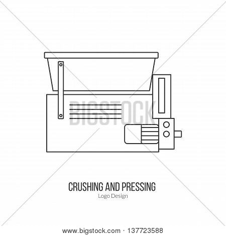 Grape crusher destemmer. Single logo in modern thin line style isolated on white background. Outline winery symbol. Simple mono linear pictogram. Stroke vector logotype template.