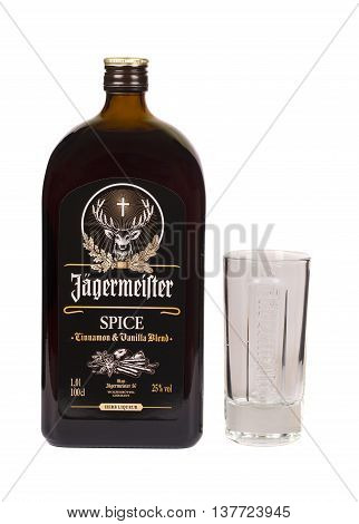 READING MOLDOVA APRIL 7 2016: Glass bottle of Jagermeister spice dark liquor. Jagermeister is a german digestif made with herbs and spices.