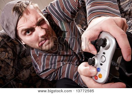 Man With Joystick Playing Video Games