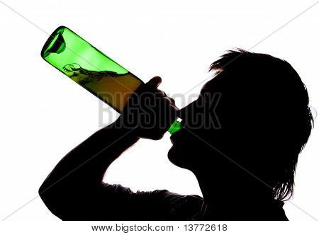 Silhouette of man drinking alcohol. Isolated on white poster
