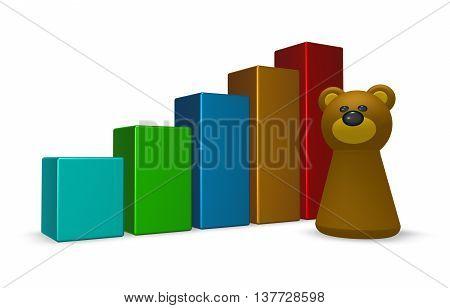 statistics bars and bear tokken - 3d rendering