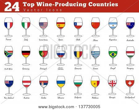 Collection of top wine producing countries pictograms. Wine glasses with national flags with names. Graphic design elements isolated on white background. Colorful flat design style vector illustration