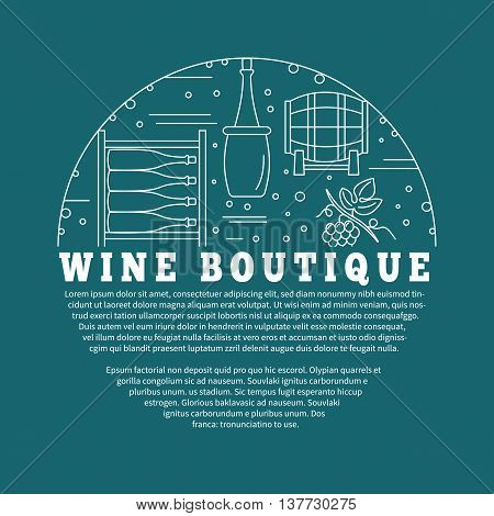 Winemaking, wine tasting flyer, poster with winery symbols in circle with place for your text. Vector template with winery graphic design elements in mono line style isolated on blue background.