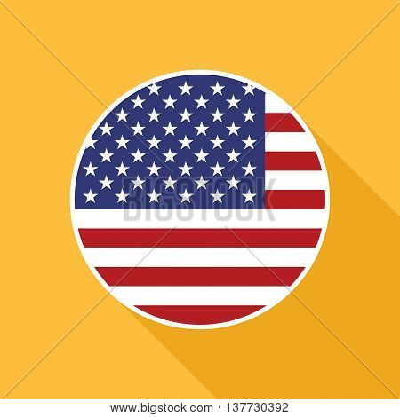 USA national flag vector flat icon. Vector icon of American flag clipped inside circle. Flat icon with star-spangled banner in flat style with long shadow. Vector illustration in EPS8 format.