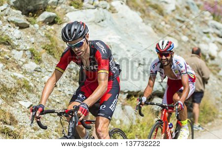 Col de la Croix de Fer France - 25 July 2015:The cyclists Samuel Sanchez of BMC Racing Team and Giampaolo Caruso of Katusha Team climbing to the Col de la Croix de Fer in Alps during the stage 20 of Le Tour de France 2015.