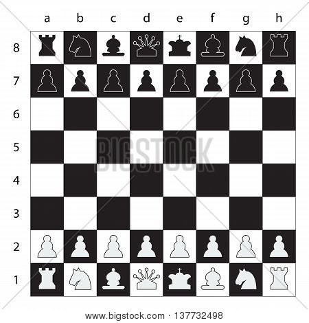 Chess board with chess numbers and chess letters. Chess figures black and white vector illustration.