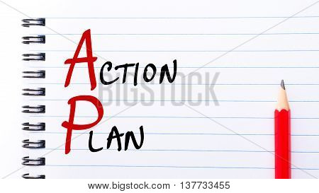 Ap Action Plan Written On Notebook Page