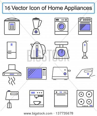 Set of vector icons of home appliances. Sixteen icons of appliances. Vector image.