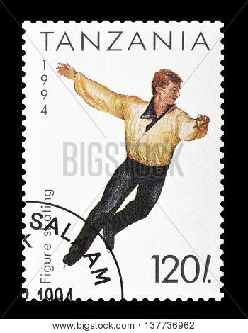 TANZANIA - CIRCA 1994 : Cancelled postage stamp printed by Tanzania, that shows Figure skating.