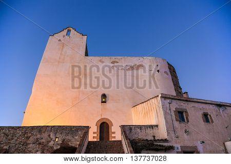 SANT POL DE MAR, SPAIN - FEBRUARY 12: Sant Pau church in San Pol de Mar on the Mediterranean coast, Catalonia, Spain