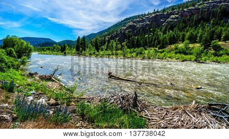 The Nicola River as it flows to the Fraser River along Highway 8 from the town of Merritt to the Fraser River at the town of Spences Bridge in British Columbia, Canada