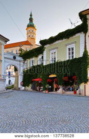 MIKULOV, CZECH REPUBLIC - JUNE 22, 2016: Historic old town of Mikulov in Moravia, Czech Republic on June 22, 2016.