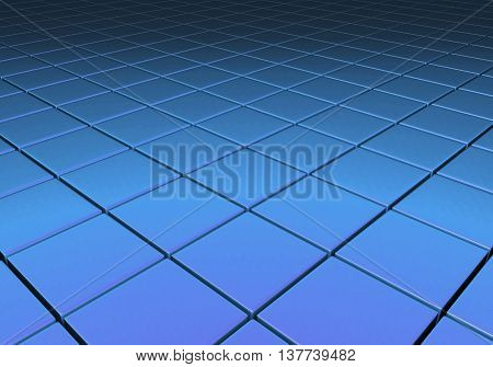 Blue metallic reflective surface comprised of cubes in a grid pattern