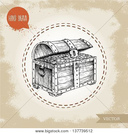Hand drawn sketch style pirates treasure chest. Vintage retro vector illustration on grunge background.