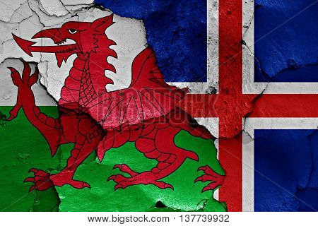 Flags Of Wales And Iceland Painted On Cracked Wall