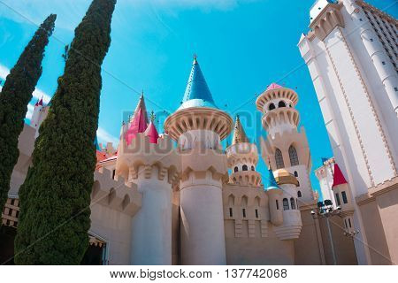 LAS VEGAS, USA - MAY 04, 2016: Excalibur Hotel and Casino in Las Vegas, Nevada. Its owner - MGM Resorts reported strong net revenue gain of 43 percent to 2.23 billion in third quarter 2011