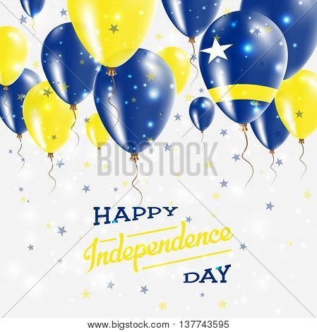Curacao Vector Patriotic Poster. Independence Day Placard With Bright Colorful Balloons Of Country N