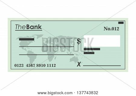 flat design bank check icon vector illustration