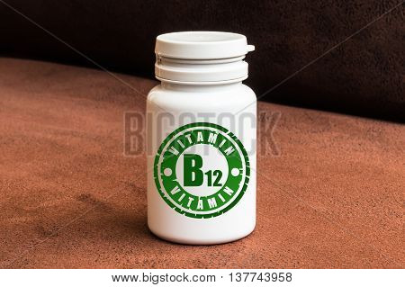 Bottle Of Pills With Vitamin B12